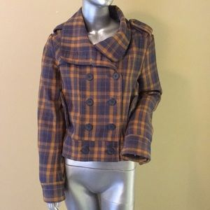 Hurley Plaid Wool blend double breasted jacket